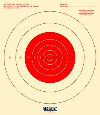 B16 Pistol Target 25 Yard Slow Fire Target Available